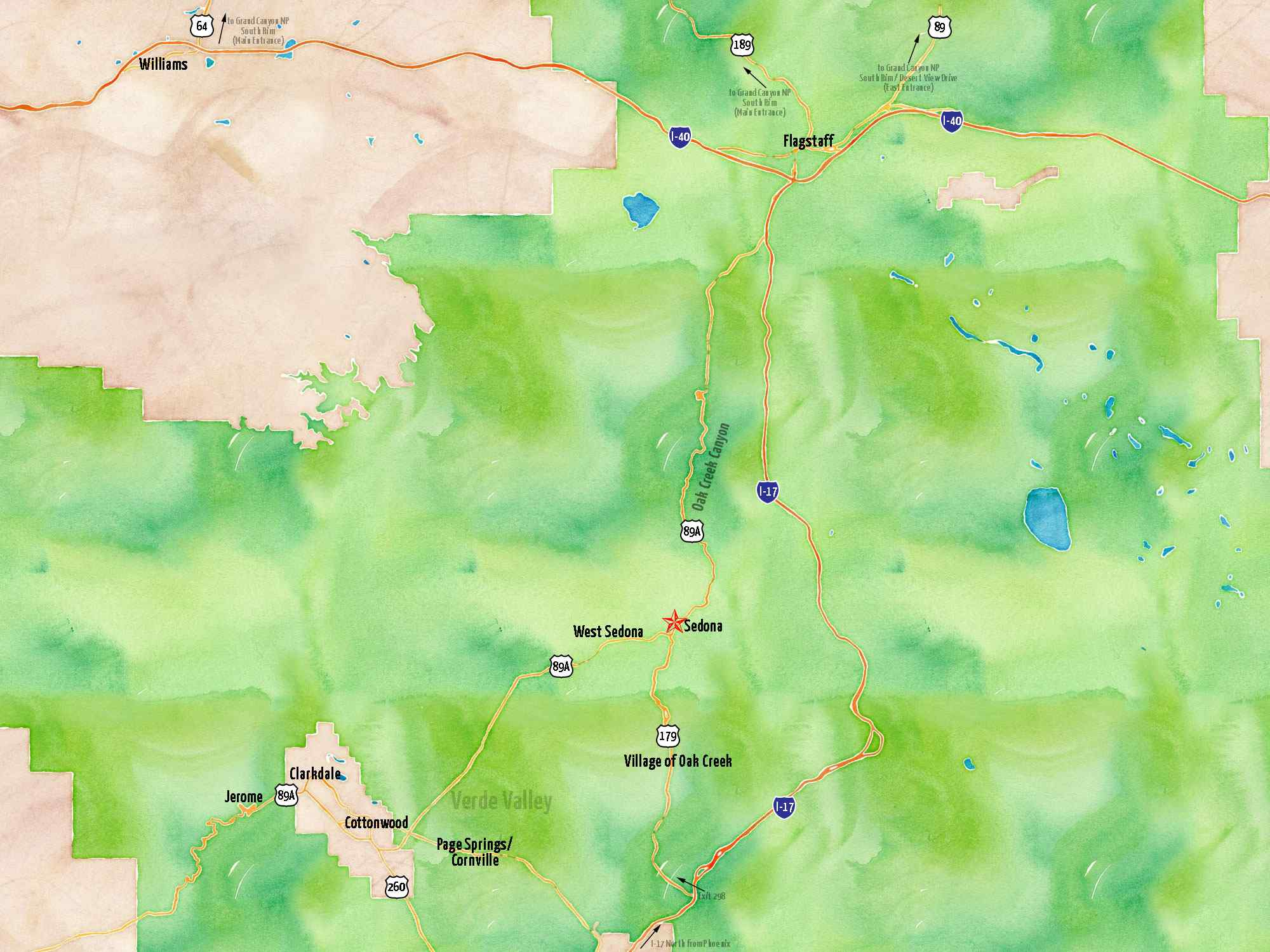 Map Of Flagstaff Arizona.Northern Arizona Map See Sedona On A Map Of Northern Arizona